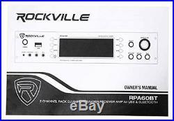 19 inch Rockville 1000w 2-Ch USB Bluetooth DJ/Pro/Karaoke Amplifier Mixer
