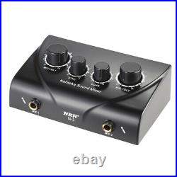 20XPortable Dual Mic Inputs Audio Sound Mixer For Amplifier & Microphone
