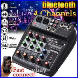 4CH Mini Audio Mixer Bluetooth USB DJ Sound Mixing Console For Karaoke KTV DJ