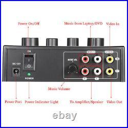 4XPortable Dual Mic Inputs Audio Sound Mixer For Amplifier & Microphone Karaoke
