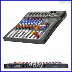 Audio Mixing Console 6 Channel Music Sound Mixer Bluetooth Karaoke DJ 48V USB