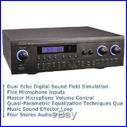 Audio2000S Professional Karaoke Mixer AKJ7404 with Digital Echo & 5 Mic. Inputs