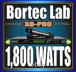 BORTEC LAB X8-Pro 1U DSP KARAOKE WIRELESS MIC MIXER 1,800 WATT POWER AMPLIFIER