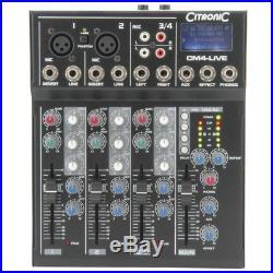 Citronic CM4-LIVE 4 Channel Live + Studio Mixing Desk Mixer + USB + SD + Effects