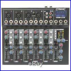 Citronic CM6-LIVE 6 Channel Live + Studio Mixing Desk Mixer + USB + SD + Effects