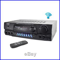 Home Theater BT Receiver Amplifier with AM/FM Radio & Two Microphone Inputs for