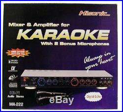 Karaoke Mixer Amplifier With Microphones Home Theater Amp System Mic Watts New