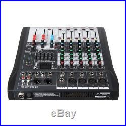 LEORY 6 Channel Karaoke Audio Mixer With USB 48V Phantom Power Bluetooth Profess