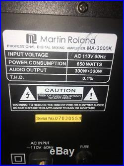 MARTIN ROLAND MA-3000K MIXING AMPLIFIER Tested Works Well