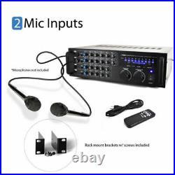 PMXAKB1000 1000W Bluetooth Karaoke DJ Mixer with Two Microphone Input RCA