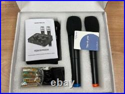 Portable Karaoke Microphone Mixer System Set, with Dual UHF Wireless Mic