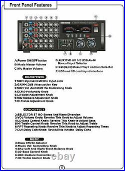 Professional 1700W Karaoke Mixer Amplifier Recording with Bluetooth & MP3