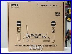 Pyle PDWMKHRD22WM. 5 HDMI Wireless UHF Microphones & Bluetooth Karaoke Mixer Set
