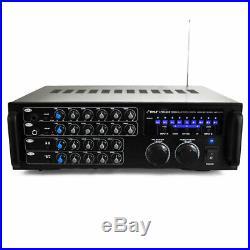 Pyle PMXAKB1000 1000 Watt Karaoke Mixer Audio Amplifier RCA Bluetooth with Remote