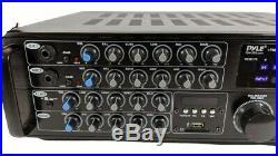 Pyle PMXAKB1000 1000W Bluetooth Karaoke DJ Mixer with Two Microphone Input RCA