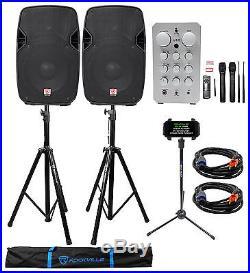 Vocopro Casaman-Wireless Bluetooth Karaoke Mixer/Amp+2 10 Speakers+Mics+Stands